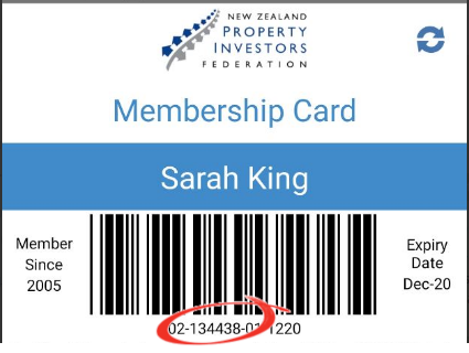 Sample NZPIF Membership Card
